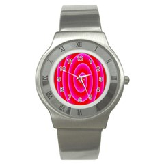 Pink Hypnotic Background Stainless Steel Watch