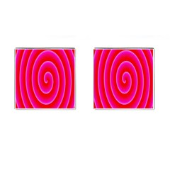 Pink Hypnotic Background Cufflinks (Square)