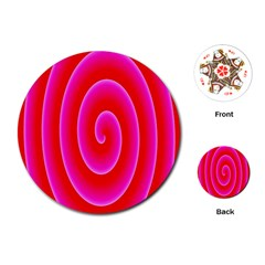 Pink Hypnotic Background Playing Cards (round)