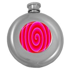 Pink Hypnotic Background Round Hip Flask (5 oz)