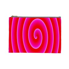 Pink Hypnotic Background Cosmetic Bag (large)