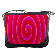 Pink Hypnotic Background Messenger Bags
