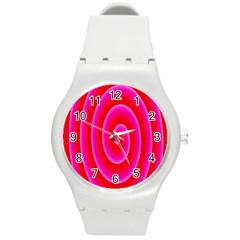 Pink Hypnotic Background Round Plastic Sport Watch (M)