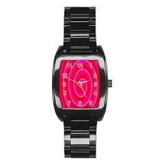 Pink Hypnotic Background Stainless Steel Barrel Watch