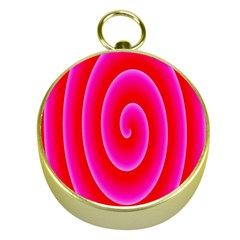 Pink Hypnotic Background Gold Compasses