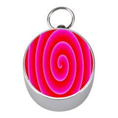 Pink Hypnotic Background Mini Silver Compasses