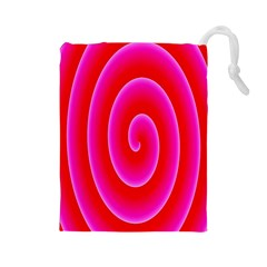 Pink Hypnotic Background Drawstring Pouches (Large)