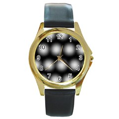 Black And White Modern Wallpaper Round Gold Metal Watch