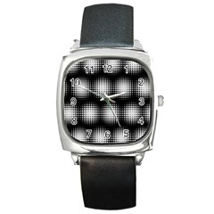 Black And White Modern Wallpaper Square Metal Watch