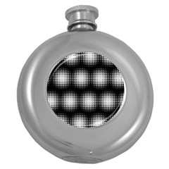 Black And White Modern Wallpaper Round Hip Flask (5 Oz)
