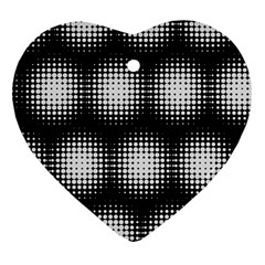 Black And White Modern Wallpaper Heart Ornament (Two Sides)