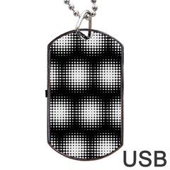 Black And White Modern Wallpaper Dog Tag USB Flash (One Side)