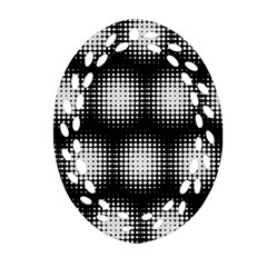 Black And White Modern Wallpaper Oval Filigree Ornament (Two Sides)