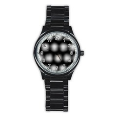 Black And White Modern Wallpaper Stainless Steel Round Watch