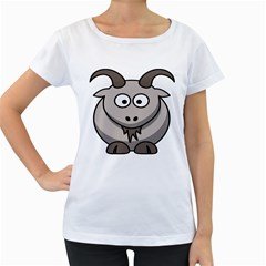 Goat Sheep Animals Baby Head Small Kid Girl Faces Face Women s Loose Fit T Shirt (white)