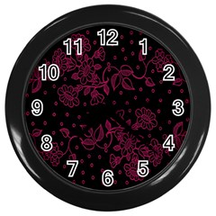 Floral Pattern Background Wall Clocks (black)