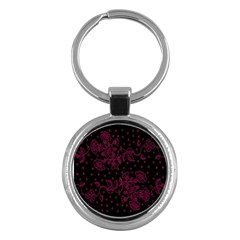 Floral Pattern Background Key Chains (round)