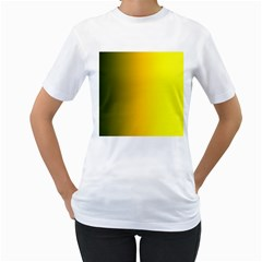 Yellow Gradient Background Women s T Shirt (white) (two Sided)