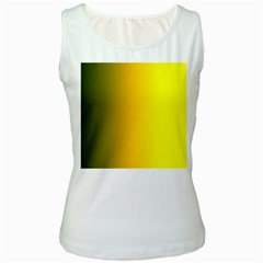 Yellow Gradient Background Women s White Tank Top