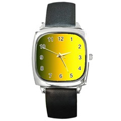Yellow Gradient Background Square Metal Watch