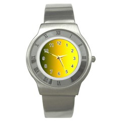 Yellow Gradient Background Stainless Steel Watch