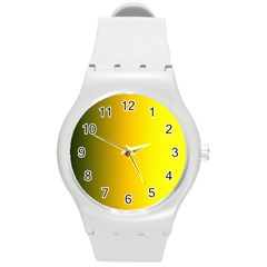 Yellow Gradient Background Round Plastic Sport Watch (m)