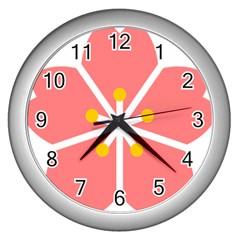 Sakura Heart Guild Flower Floral Wall Clocks (silver)