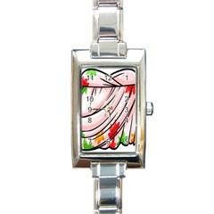 Petal Pattern Dress Flower Rectangle Italian Charm Watch