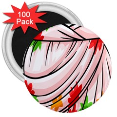 Petal Pattern Dress Flower 3  Magnets (100 Pack)