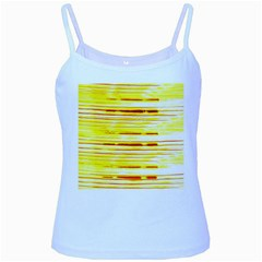 Yellow Curves Background Baby Blue Spaghetti Tank