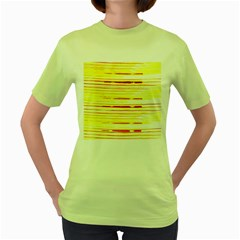 Yellow Curves Background Women s Green T-Shirt