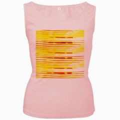 Yellow Curves Background Women s Pink Tank Top