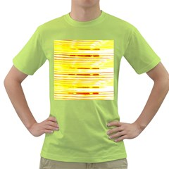 Yellow Curves Background Green T Shirt