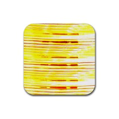 Yellow Curves Background Rubber Coaster (square)