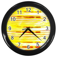 Yellow Curves Background Wall Clocks (black)