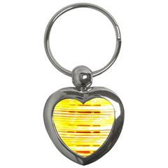Yellow Curves Background Key Chains (Heart)