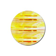 Yellow Curves Background Rubber Coaster (Round)