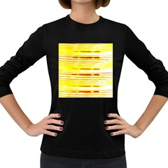 Yellow Curves Background Women s Long Sleeve Dark T Shirts