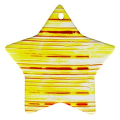 Yellow Curves Background Star Ornament (two Sides)