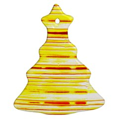 Yellow Curves Background Christmas Tree Ornament (two Sides)
