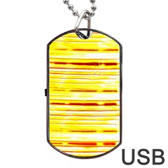 Yellow Curves Background Dog Tag USB Flash (One Side)