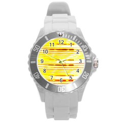 Yellow Curves Background Round Plastic Sport Watch (L)