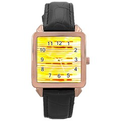 Yellow Curves Background Rose Gold Leather Watch