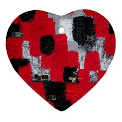Red Black Gray Background Ornament (heart)