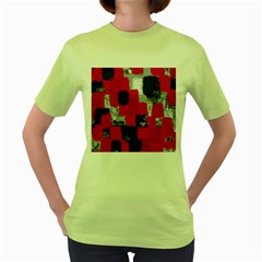 Red Black Gray Background Women s Green T-Shirt