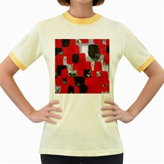 Red Black Gray Background Women s Fitted Ringer T Shirts