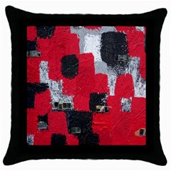 Red Black Gray Background Throw Pillow Case (black)