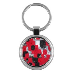 Red Black Gray Background Key Chains (round)