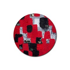 Red Black Gray Background Rubber Round Coaster (4 Pack)
