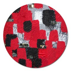 Red Black Gray Background Magnet 5  (Round)